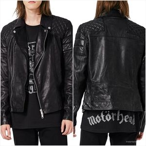 TOPMAN Quilted Leather Biker Jacket Size